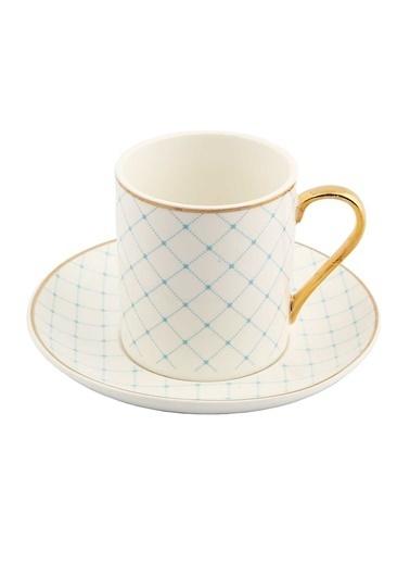 Vitale Style 6'lı Mavi Kareli Kahve Fincan Takımı Renkli
